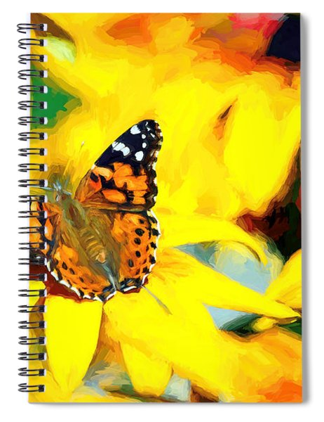 Painted Lady Butterfly Van Gogh Spiral Notebook