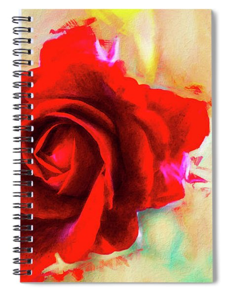 Painted Rose On Colorful Stucco Spiral Notebook