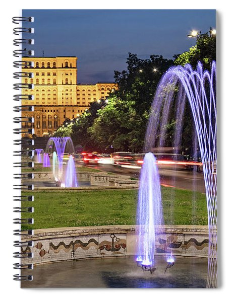 Spiral Notebook featuring the photograph Palace Of Parliament At Night - Bucharest by Barry O Carroll