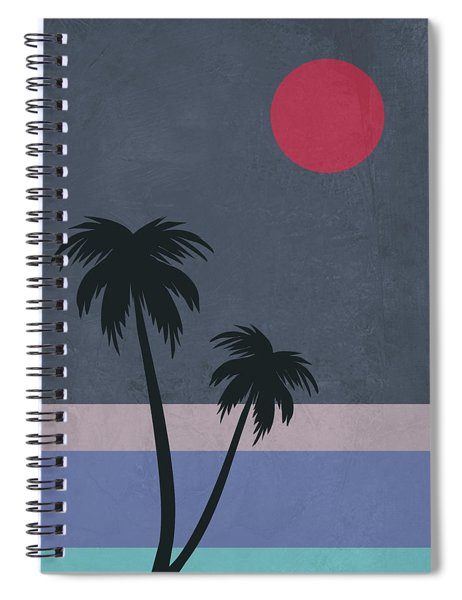 Palm Trees And Red Moon Spiral Notebook