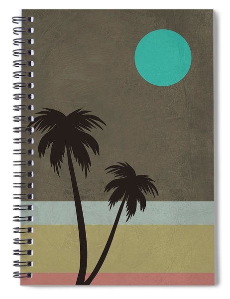Palm Trees And Teal Moon Spiral Notebook