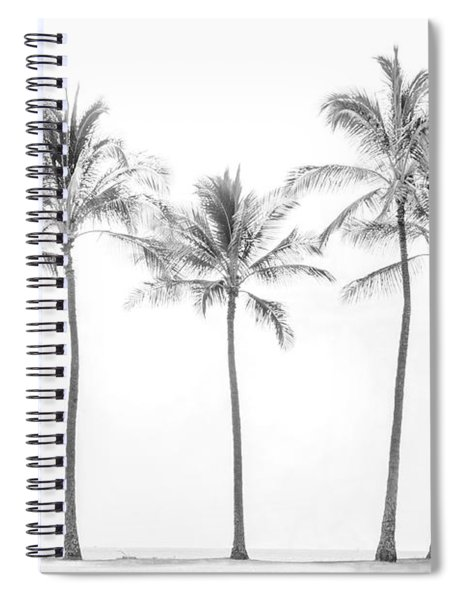 Palm Trees On The Beach In Black And White Spiral Notebook