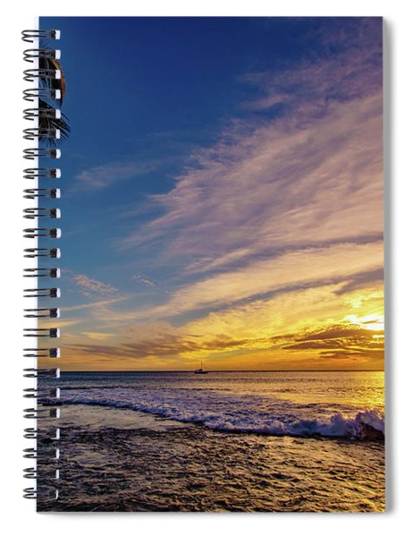 Palm Wave Sunset Spiral Notebook