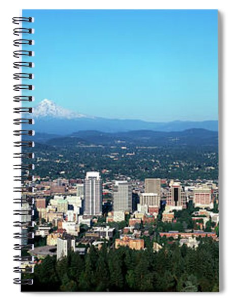 Panorama Of City With Mount Hood Spiral Notebook