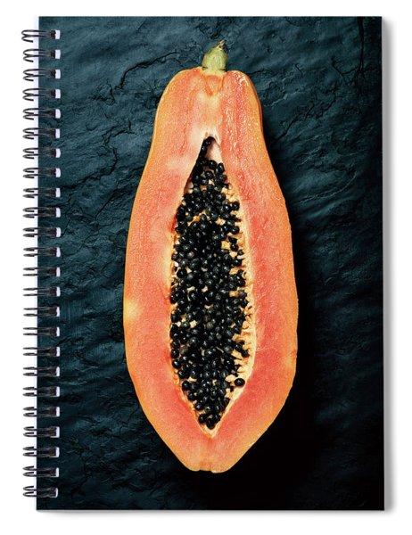 Papaya Cross-section On Dark Slate Spiral Notebook