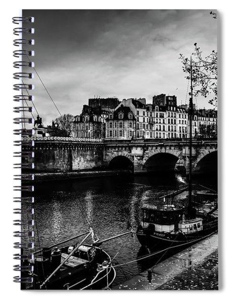Paris At Night - Seine River Towards Pont Neuf Spiral Notebook