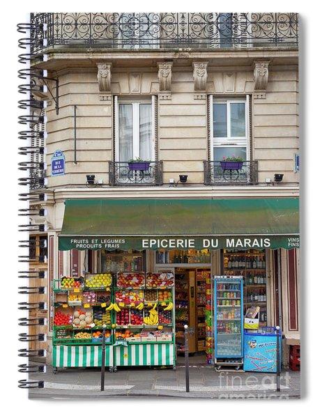 Paris Corner Grocery Spiral Notebook by Brian Jannsen
