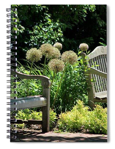 Park Benches At Chicago Botanical Gardens Spiral Notebook