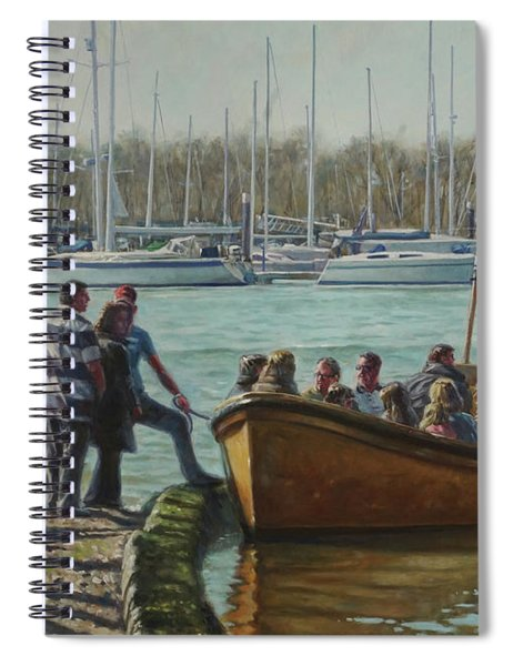 Passengers Boarding The Hamble Water Taxi In Hampshire Spiral Notebook by Martin Davey