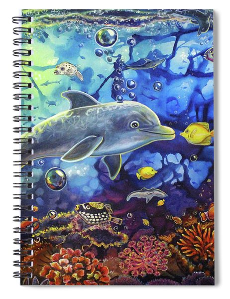 Past Memories New Beginnings Dolphin Reef Spiral Notebook