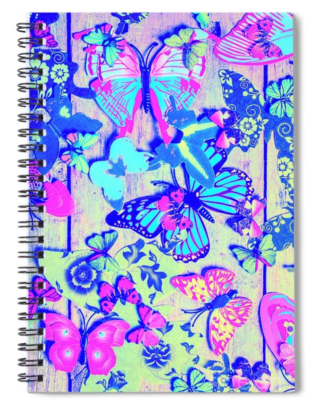 Pastel Wings And Button Butterflies Spiral Notebook