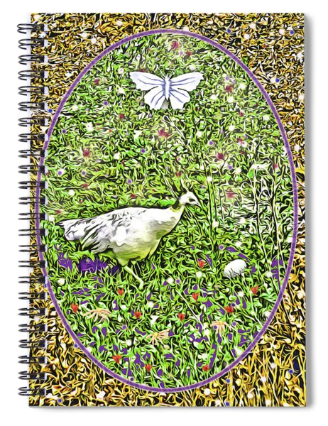 Pea Hen With Egg And Butterfly Spiral Notebook