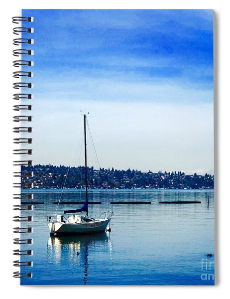 Peaceful Day In Blue Spiral Notebook