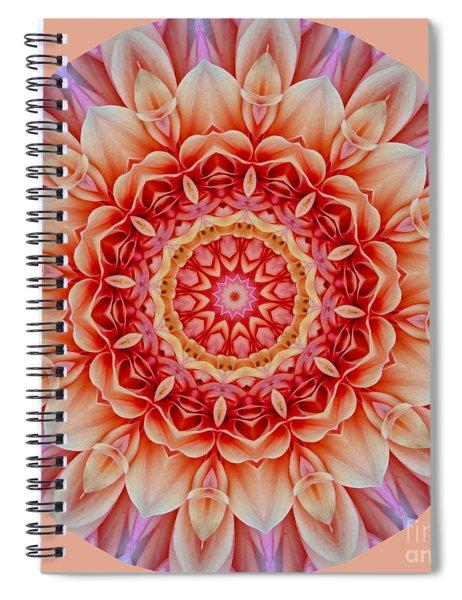 Peach Floral Mandala Spiral Notebook