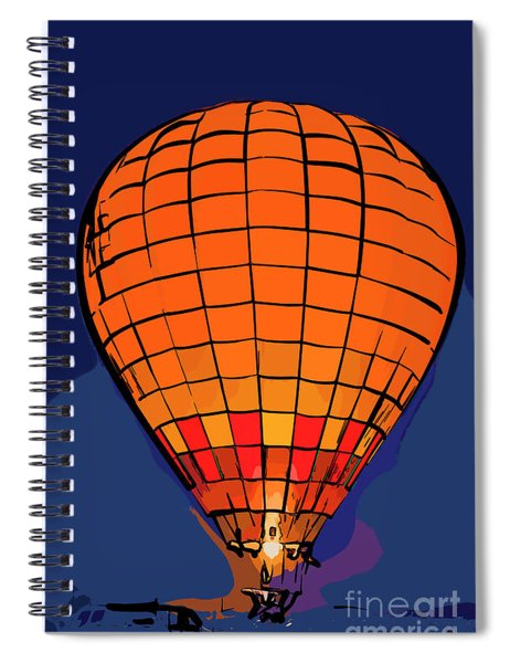 Peach Hot Air Balloon Night Glow In Abstract Spiral Notebook