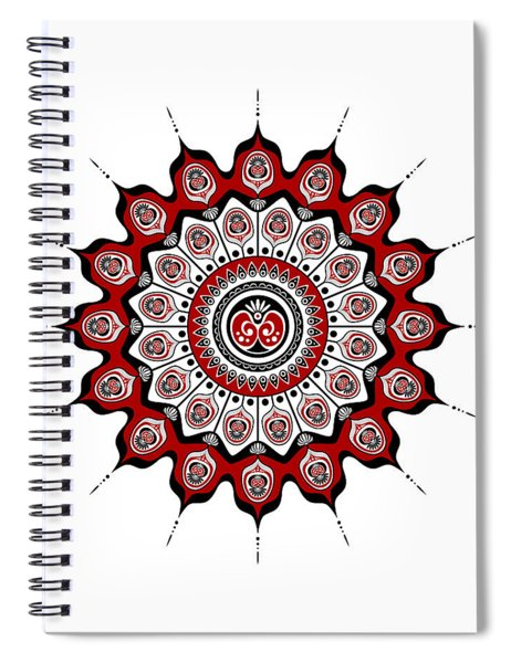 Peacock Feathers Mandala In Black And Red Spiral Notebook