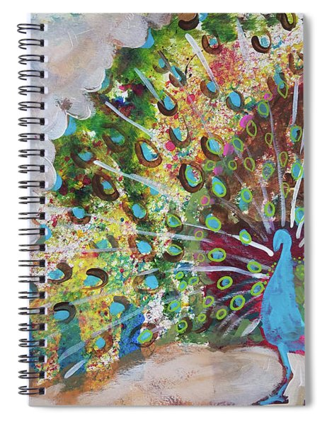 Peacock In Morning Mist Spiral Notebook