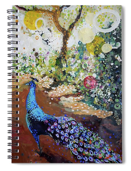 Peacock On Path Spiral Notebook