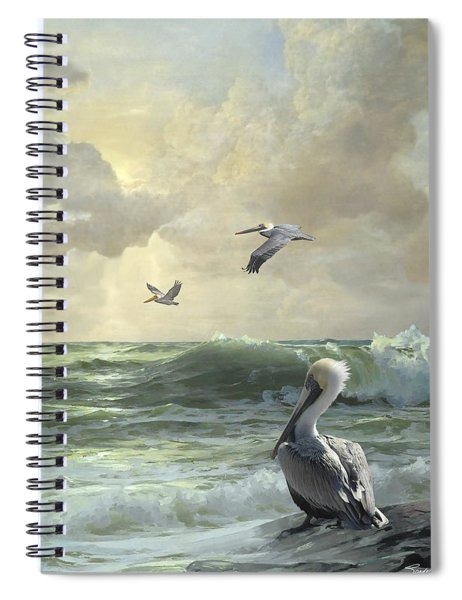 Pelicans In The Surf Spiral Notebook