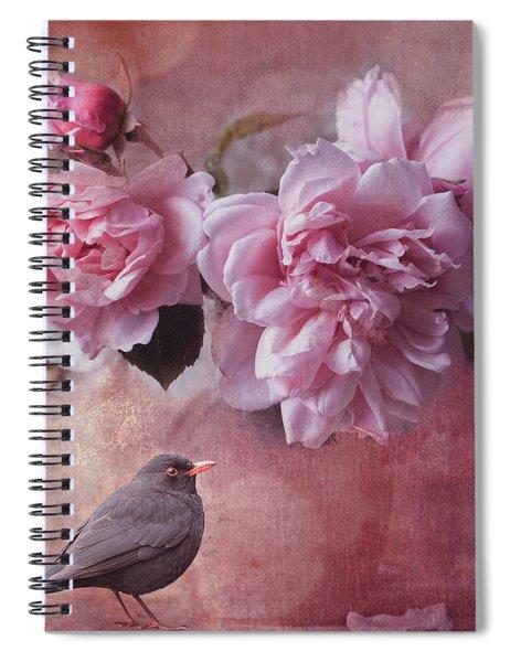 Peonies And Blackbird Spiral Notebook