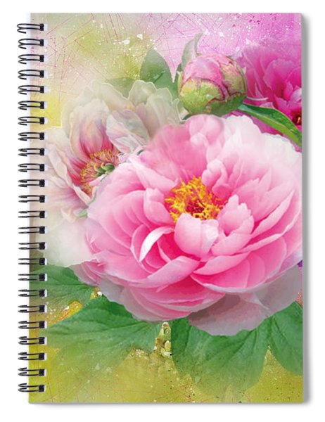 Peonies And Butterfly Spiral Notebook