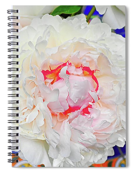 Peonies On A Garden Table Spiral Notebook