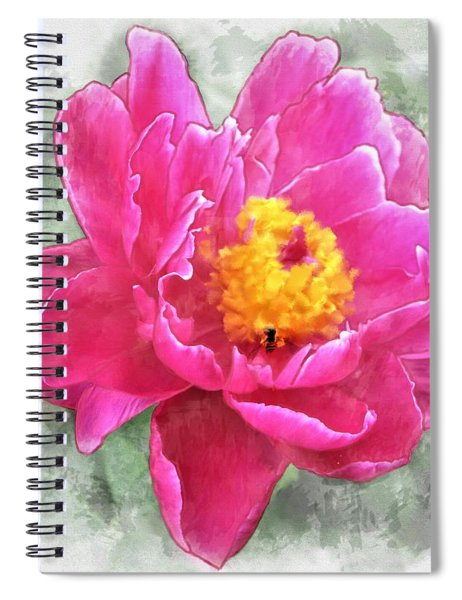 Peony And Bee Spiral Notebook