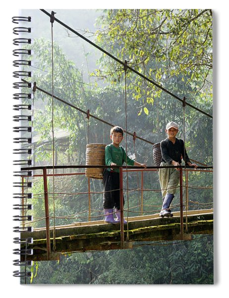 People And Children From Sapa, Mountainous Area Of Northern Vietnam In Their Daily Life. Spiral Notebook