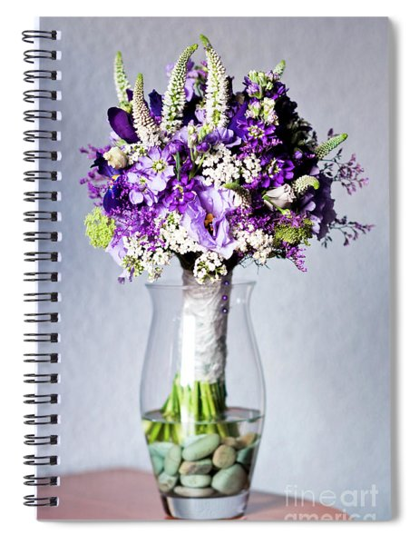Perfect Bridal Bouquet For Colorful Wedding Day With Natural Flowers. Spiral Notebook