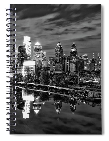 Philadelphia Cityscape Reflection In Black And White Spiral Notebook