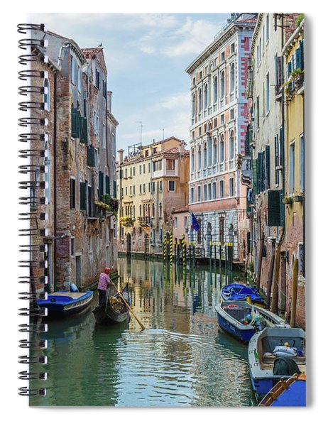 Gondolier On Canal Venice Italy Spiral Notebook