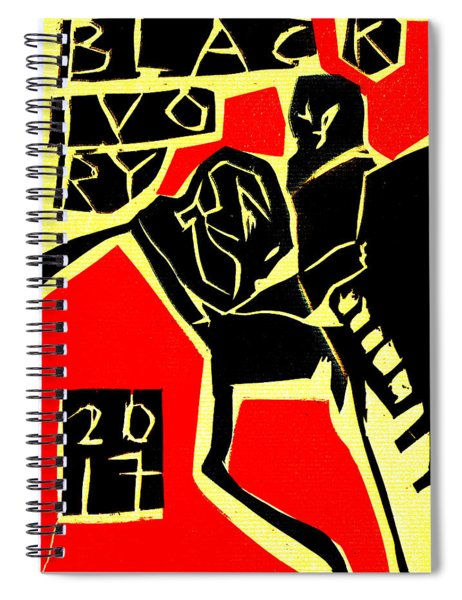 Piano Player Black Ivory Woodcut Poster 31 Spiral Notebook