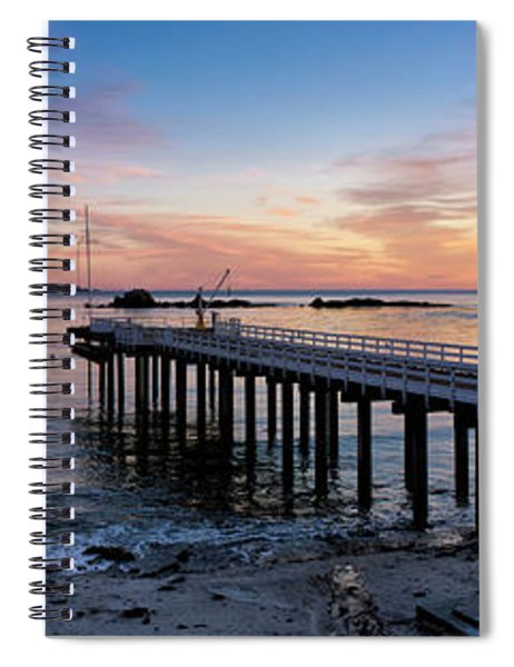 Pier And Sailboat At Sunset Spiral Notebook