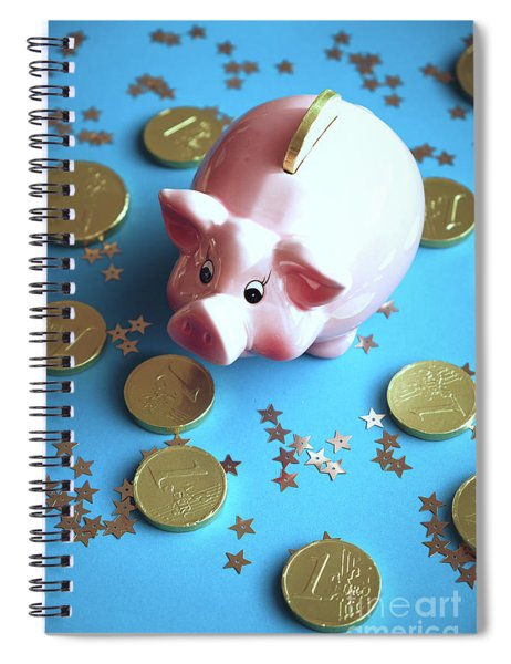 Piggy Bank On The Background With The  Chocoladen Coins Spiral Notebook