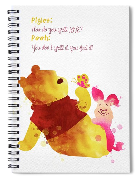 Piglet And Pooh Watercolor 1 Spiral Notebook