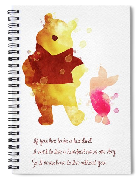 Piglet And Pooh Watercolor 3 Spiral Notebook
