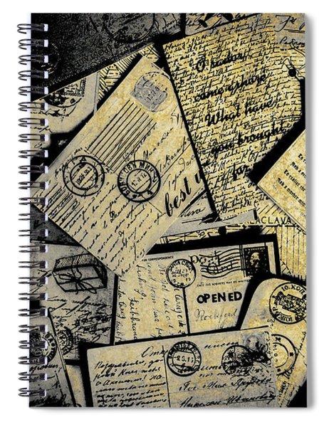 Piled Paper Postcards Spiral Notebook