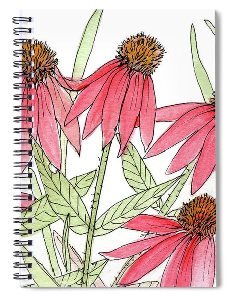 Pink Coneflowers Gather Watercolor Spiral Notebook