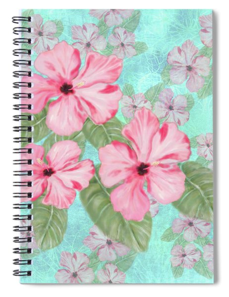 Pink Hibiscus Print On Aqua Spiral Notebook