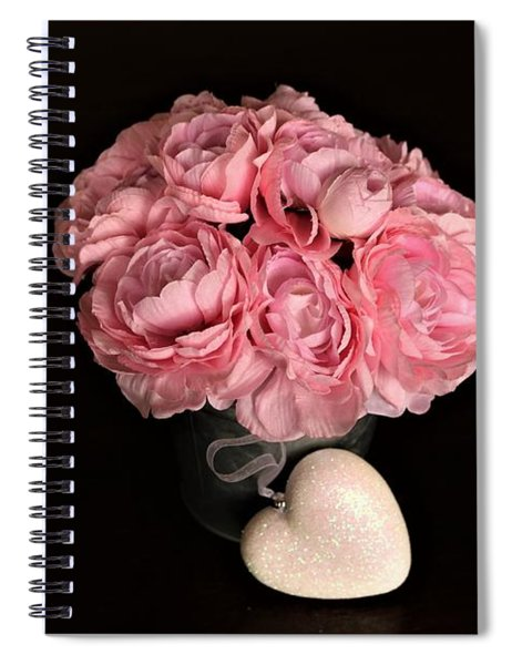 Pink Peonies And Heart On Black Spiral Notebook