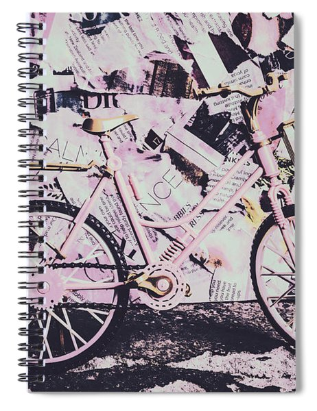 Pink Posterized Pushbike Spiral Notebook