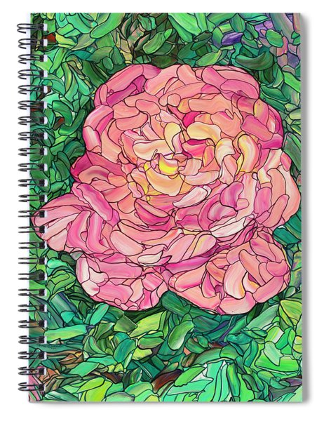Pink Rose Spiral Notebook by James W Johnson