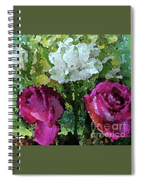 Pink Roses Watercolor Effect Spiral Notebook