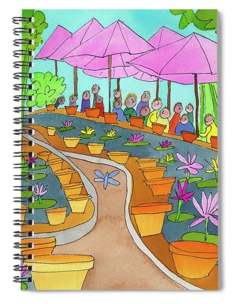 Pink Umbrella And Lilies Spiral Notebook