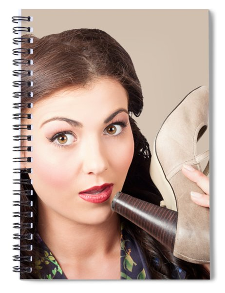 Pinup Vintage Woman Chatting On Shoe Phone Spiral Notebook