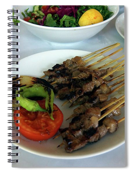 Plate Of Kebabs And Salad For Lunch Spiral Notebook