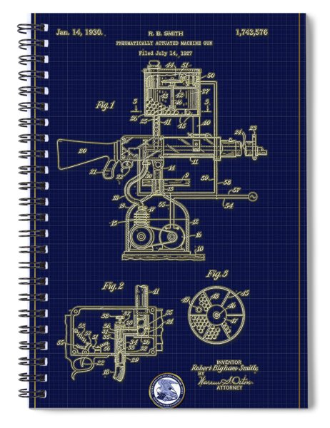 Pneumatically Actuated Machine Gun Patent Drawing Spiral Notebook