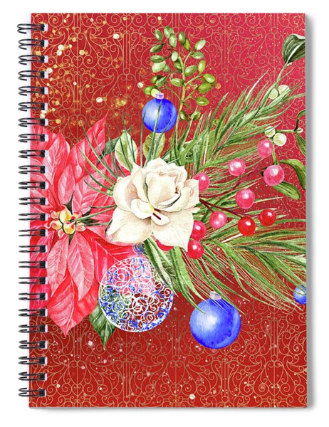Poinsettia With Blue Ornaments  Spiral Notebook
