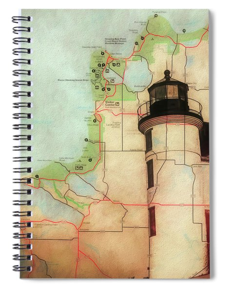 Point Betsie Lighthouse Map Spiral Notebook
