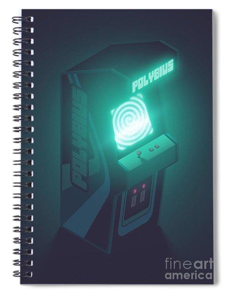Polybius Arcade Game Machine Cabinet - Isometric Black Spiral Notebook